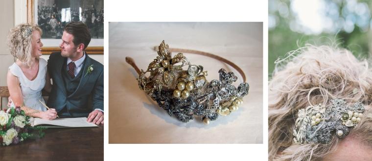 Anna Degnan bespoke bridal side tiara, montage