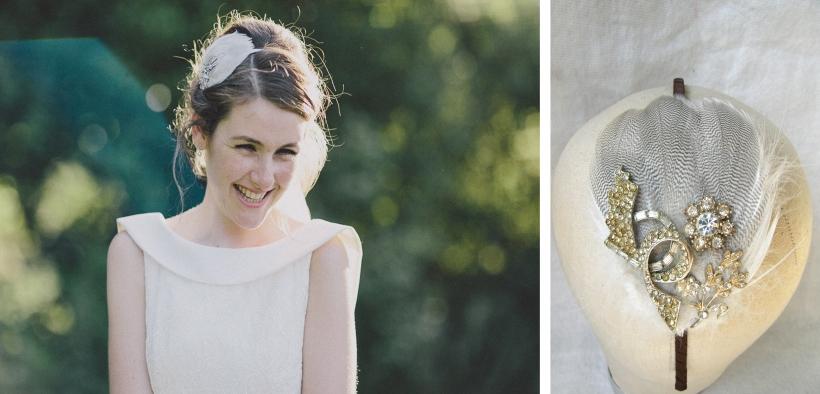 Laura bespoke bridal fascinator feathers & vintage diamante