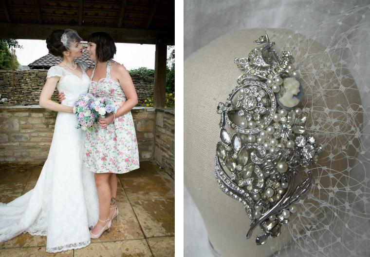 Laura bespoke side tiara & veil