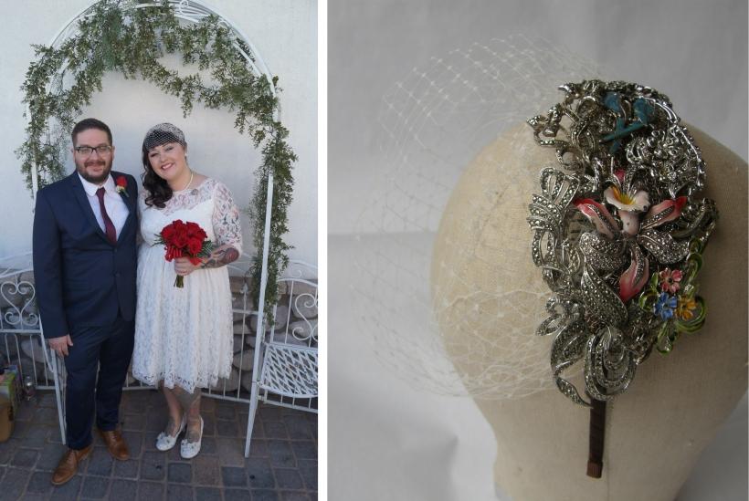 Sadee bespoke bridal side tiara with veil