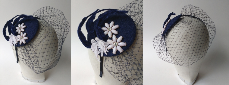 Trudy bespoke navy & blush bridal fascinator close-up