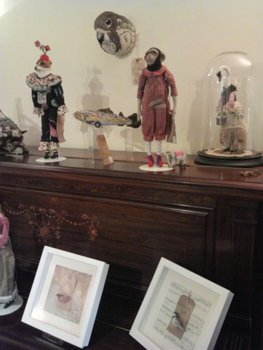 Annie Hutchinson's anthropomorphic creatures, at Liz Brooke Ward's home studio