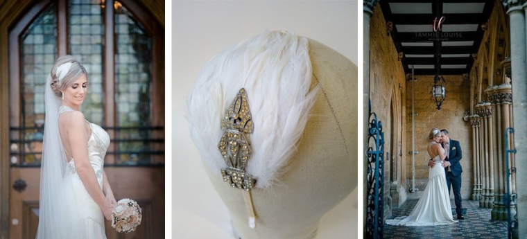 Art Deco inspired bridal fascinator with feathers Harriet