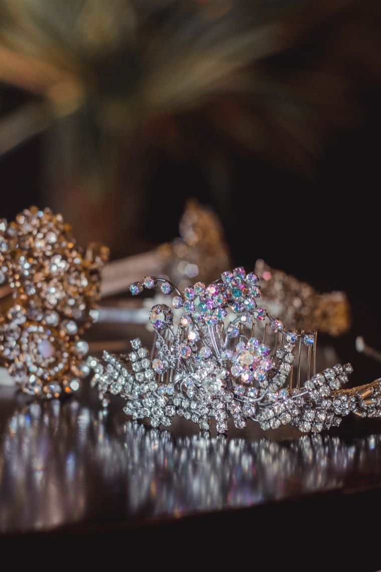 sparkly tiara made with vintage diamante jewellery
