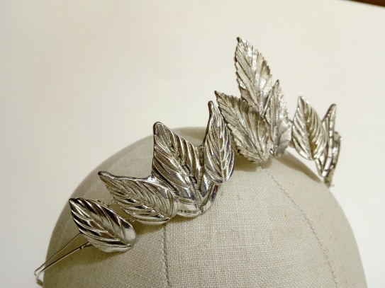 Silver leaf woodland bride tiara made with recycled jewellery