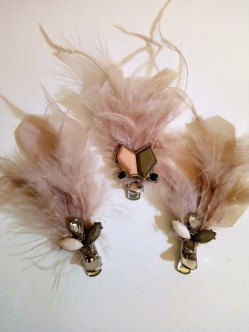charity shop skirt trimmed in feathers becomes cute hair clips finished off with motifs from an upcycled necklace (2)