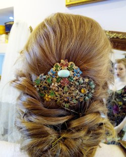 haircomb made with upcycled antique diamante brooches