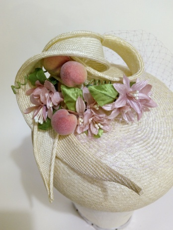 upcycling an old straw hat into a new modern mini beret, hand blocked and trimmed with vintage flowers & faux fruit (1)