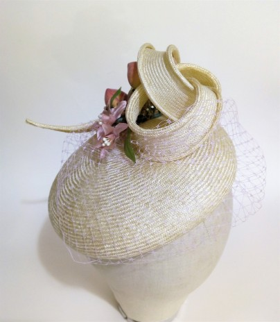 upcycling an old straw hat into a new modern mini beret, hand blocked and trimmed with vintage flowers & faux fruit (5)