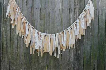 Lace & Gold Fabric Garland Bunting from https://madeit.com.au