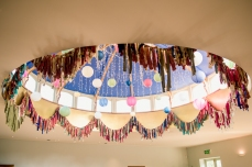 Gemma & Phil's wedding at Matara. Fabric garland bunting around the dome. Photo by Camilla Reynolds Photography (2)