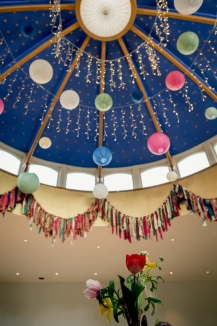 Gemma & Phil's wedding at Matara. Fabric garland bunting around the dome. Photo by Camilla Reynolds Photography (4)