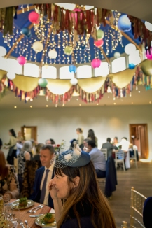 Gemma & Phil's wedding at Matara. Fabric garland bunting around the dome. Photo by Camilla Reynolds Photography (6)