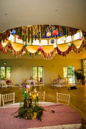 Gemma & Phil's wedding at Matara. Fabric garland bunting around the dome. Photo by Camilla Reynolds Photography (7)