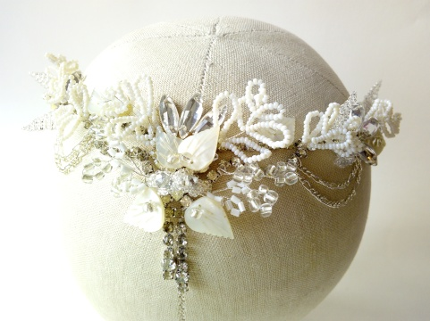 Bespoke boho hair vine with vintage beads & diamante for Elly's beach wedding (26)