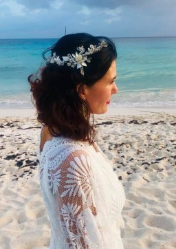 Bespoke boho hair vine with vintage beads & diamante for Elly's beach wedding (7)