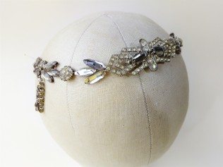 Bespoke bridal hair vine headdress for Beatrice, made with vintage diamante by Gemma Sangwine (11)