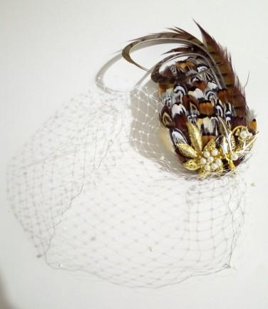 unique fascinator pearl blue hat bespoke design veiled fascinator Mother of the bride hat Blue fascinator statement hat