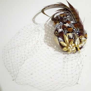 Bespoke bridal Pheasant feather fascinator with veil & heirloom brooch, for Laura, by Gemma Sangwine (9)