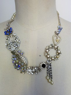 Bespoke statement necklace for Tina made with vintage diamante (12)