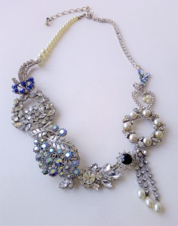 Bespoke statement necklace for Tina made with vintage diamante (13.a)