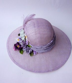 Custom made large brimmed lilac sinamay wedding hat for Flo with hand made flowers & vintage feather (10)
