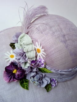 Custom made large brimmed lilac sinamay wedding hat for Flo with hand made flowers & vintage feather (13)